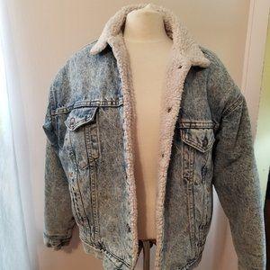 Vintage Stone Wash Levi Jacket Sherpa Lined Large